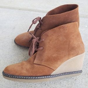 J. CREW Suede Lace-up Wedge boots, 7